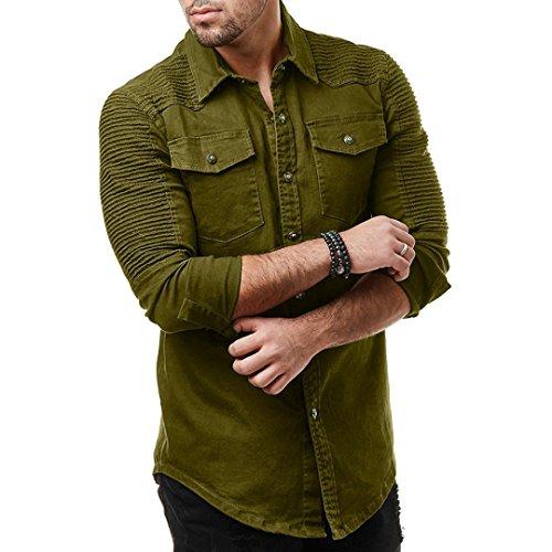 Yuxikong Mens' Coat,Casual Slim Fit Button Shirt with Pocket Long Sleeve Tops Blouse (Green, XL) by Yuxikong (Image #2)