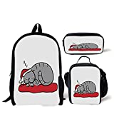 School Lunch Pen Bags,Christmas Decorations,Cat with Santa Hat Whiskers on Pillow Winter Night Cartoon Art,White Red Grey,Personalized Print
