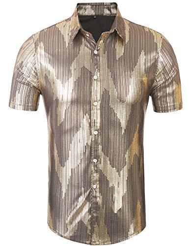 Daupanzees Mens Dress Shirt Silver Sequins Short Sleeve Button Down 70s Disco Shirt Party Costume (Gold S)