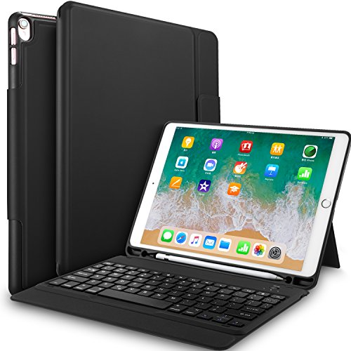 IVSO Keyboard Case for iPad Air 10.5(3rd Gen) 2019-One-Piece Keyboard Stand Case Cover with Pencil Slot for iPad Air 10.5 inch 2019(3rd Gen) iPad Pro 10.5 inch 2017 Tablet(Black)