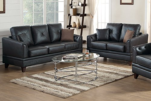 3Pcs Black Genuine Leather Sofa Loveseat Chair Set with Pillow Back Supports and Curved (Genuine Leather Living Room)