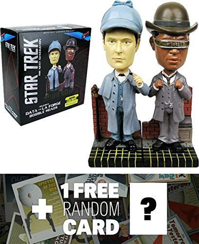 Holmes Bobble Head - Data (Sherlock Holmes) & LaForge (Dr. Watson): Star Trek The Next Generation Bobble Heads + 1 FREE Official Star Trek Trading Card Bundle