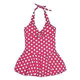 Girls Swimwear - SODIAL(R) Children's Lovely Wave Point One Piece Swimsuit Girls Swimwear Bikini UV Protection Red age 10-12