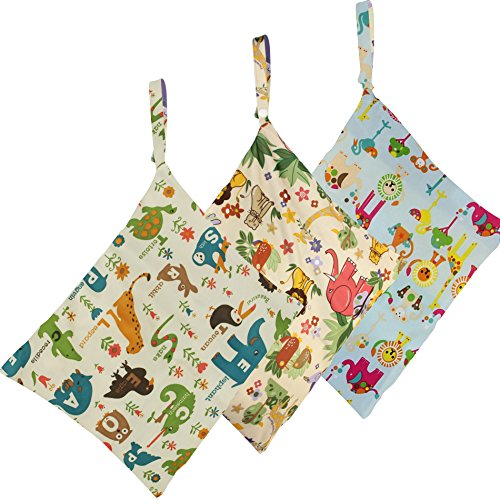 Biubee Cloth Diaper Wet and Dry Bags -Baby Waterproof Washable Wet Bag with Zippered Pockets(pack of 3)