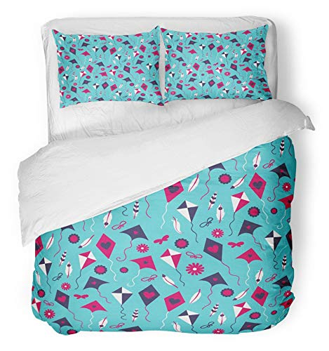 Emvency 3 Piece Duvet Cover Set Brushed Microfiber Fabric Breathable Colorful Activity with Different Kites Aerodynamic Air Airborne Airframe Bedding Set with 2 Pillow Covers Twin Size