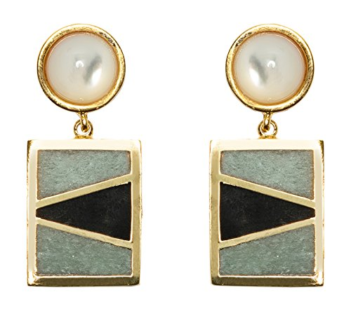 Lizzie Fortunato Boucles d'Oreilles Laiton Triangle Aventurine Turquoise Femme