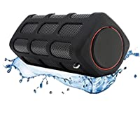 SINOBAND S400 Waterproof, Dustproof and Shockproof Portable Stereo Power Bank Bluetooth Speaker in Black, Bluetooth CSR 4.0, with FREE Quality Custom Made Pouch Carry Case, Compatible with Smartphone, Tablets, and Other Bluetooth- Capable Devices, Super Bass Releases Hi-fi Sound, Powerful 7000mAh Polymer Lithium Battery.