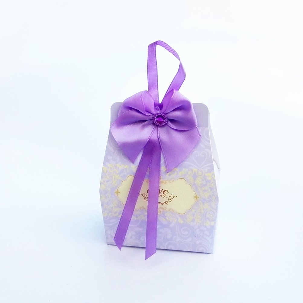 the love 50-Packed M Size Purple Paper Box with Bow Wedding Favors or Party Favors Boxes Gifts Box for Wedding or Party