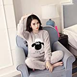 Winter Luxury Pajamas Velvet Women Shuipao Pajamas Warm And Comfortable Home Service Cozy Flannel Pajama Set , m , C