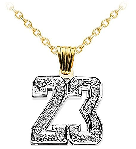 Personalized Diamond Number Plate Necklace 14K Yellow or 14K 14K White Gold by Rylos