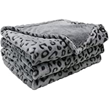 FY Fiber House Flannel Fleece Throw Microfiber Blanket with 3D Leopard Print,50 by 60-Inch,Grey