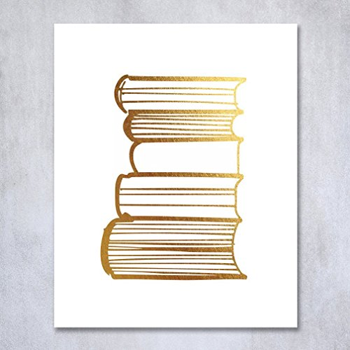 Stack of Books Gold Foil Decor Library Print Reading Study Modern Wall Art Poster 5 inches x 7 inches A19
