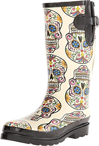 Blazin Roxx Women's Rocki Sugar Skull Rain Boot White 8 US -