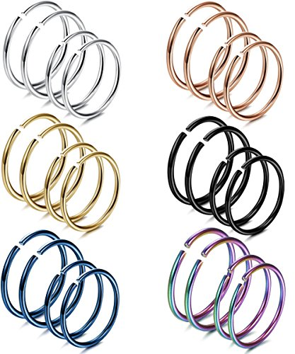 FIBO STEEL 20G 24PCS Stainless Steel Body Jewelry Piercing Nose Ring Hoop Nose Piercing - Hoop Body Jewelry