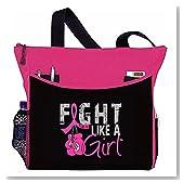 "Fight Like a Girl Boxing Glove Tote Bag ""Dakota"" (Hot Pink)"