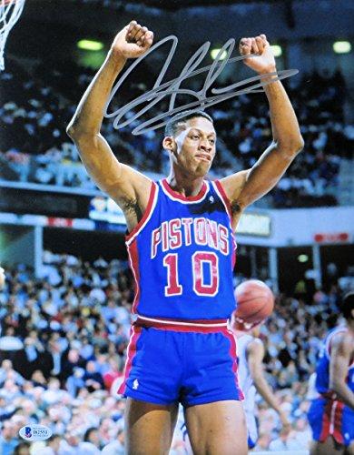 Dennis Rodman Signed Autographed 11X14 Photo Detroit Pistons Arms Up Beckett COA Dennis Rodman Hand Signed