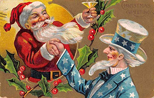 Christmas Greetings Patriotic Santa Claus and Uncle Sam Postcard JJ649508