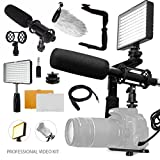Professional Video 160 LED Light for HD Quality Videography w/Pro Broadcast-Quality Interview Condenser Shotgun Microphone + 180 Degree Quick Flip rotating Flash Bracket