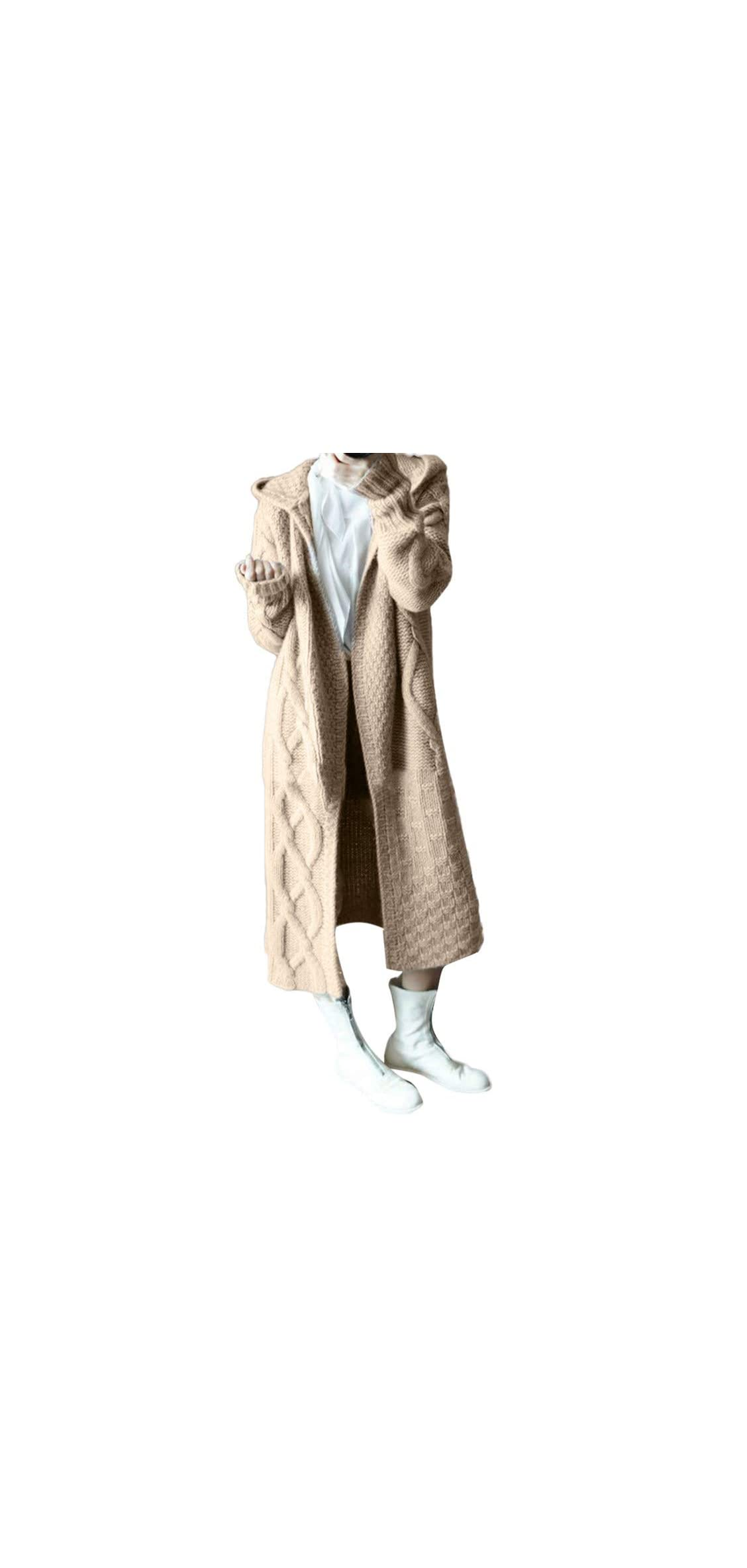 Autumn Winter Women's Hooded Thick Knit Cardigan Long