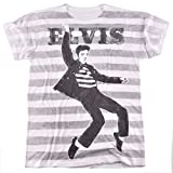 Elvis Presley Jailhouse Rock Striped Sublimated T Shirt for Men and Women (X-Large)