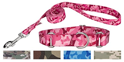 Adjustable Dog Collar Bone (Country Brook Design Pink Bone Camo Martingale Dog Collar & Leash - Small)