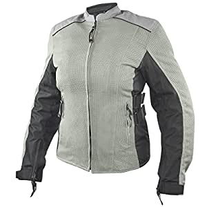 Xelement BXU2704 Womens Silver/Meridian Gray Tri-Tex/Mesh Armored Motorcycle Ja - 3X-Large