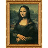 Leonardo da Vinci Mona Lisa Framed Canvas Giclee Print - Finished Size (W) 28.1'' x (H) 37.1'' [Gold] (V03-24K-MD535-01)