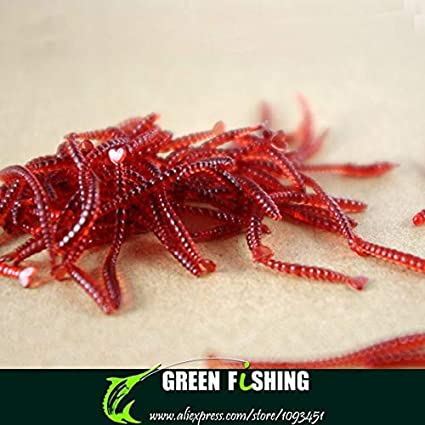 500pcs Soft Red Earthworm Fishing Bait Worm Lures Crankbaits Hooks Baits Tackle