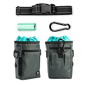 Dog Treat Pouch with Waste Bags Dispenser, TaoTronics Dog Training Pouch with Waist Belt or Over the Shoulder Strap, Carries Treats, Toys, Keys etc. (2 x Carabiner Clips, 1 Roll of Dog Poop Bags)