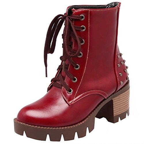 AIYOUMEI Women's Lace-up Block Heel Booties Autumn Winter Ankle Boots with Rivets
