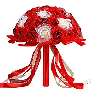 QHB Wedding Bridal Bouquet, Handmade Crystal Ribbon Rhinestone Wedding Bridesmaid Bouquet,Crystal Ribbon Roses Bridesmaid Wedding Bouquet Bridal Artificial Silk Flowers Cheap 5