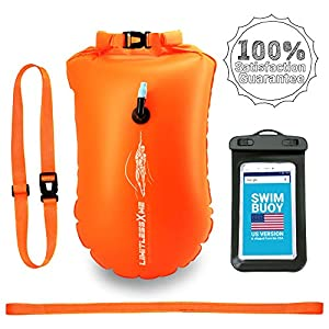 LimitlessXme Swim Buoy & Drybag – for Swimmers, Open Water and Triathlon. Pull Buoy for Adults and Kids. Orange Signal…