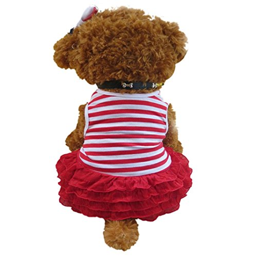 (Howstar Puppy Princess Dress, Pet Dog Fashion Ruffles Dress Striped Wedding Party Doggie Clothing (Red,)