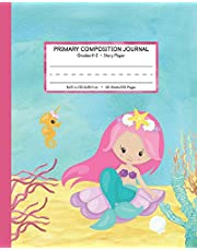 Primary Composition Journal Grades K-2 Story Paper: Picture Space And Dashed Mid Line   Mermaid Watercolor Notebook