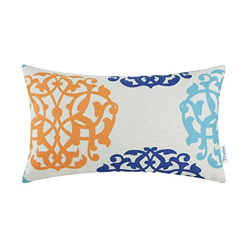 CaliTime Canvas Bolster Pillow Cover Case for Couch Sofa Home Decoration Three-Tone Floral Compass Geometric 12 X 20 Inches Turquoise Blue/Orange/Blue