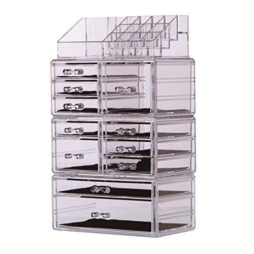 PENGKE Acrylic Makeup Organizer,Clear Jewelry and Cosmetic Storage,Large Capacity,Fit Different Size of Cosmetic,Brushes,Palettes,Lipsticks,11 Drawer Keep Your Vanity Organized
