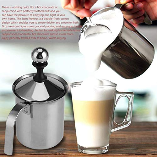 (Other Dessert Tools - Durable 400 800ml Stainless Steel Milk Frother Foamer Coffee Cappuccino Manual 290858 - Cup Foam Milk Cappuccino Coffee Pitcher 1 Cappuccino Foam Milk Cappuccino Milk Skele)