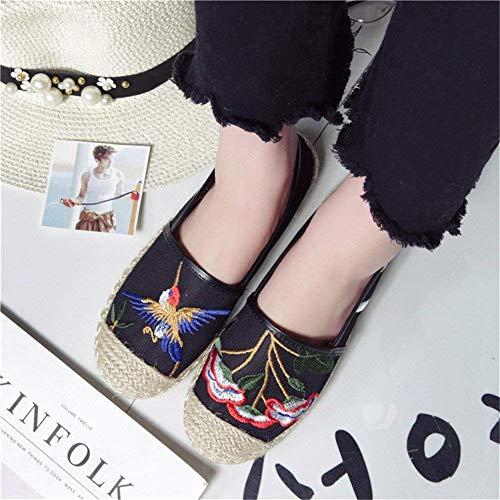 Tricotent Eu À Main Folk Broderie Chaussures Des on Deed Les Style 38 La Femmes Slip Fq4nB
