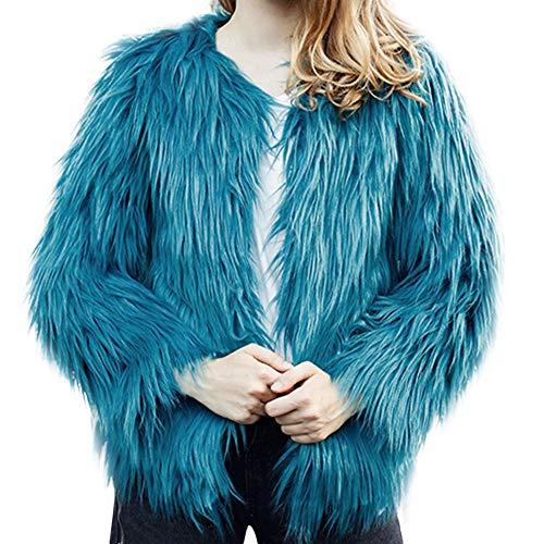 Faux Fur Coat,Women's Winter High-Grade Imitation Turf Cardigan Solid Color Bomber Jacket by-NEWONESUN