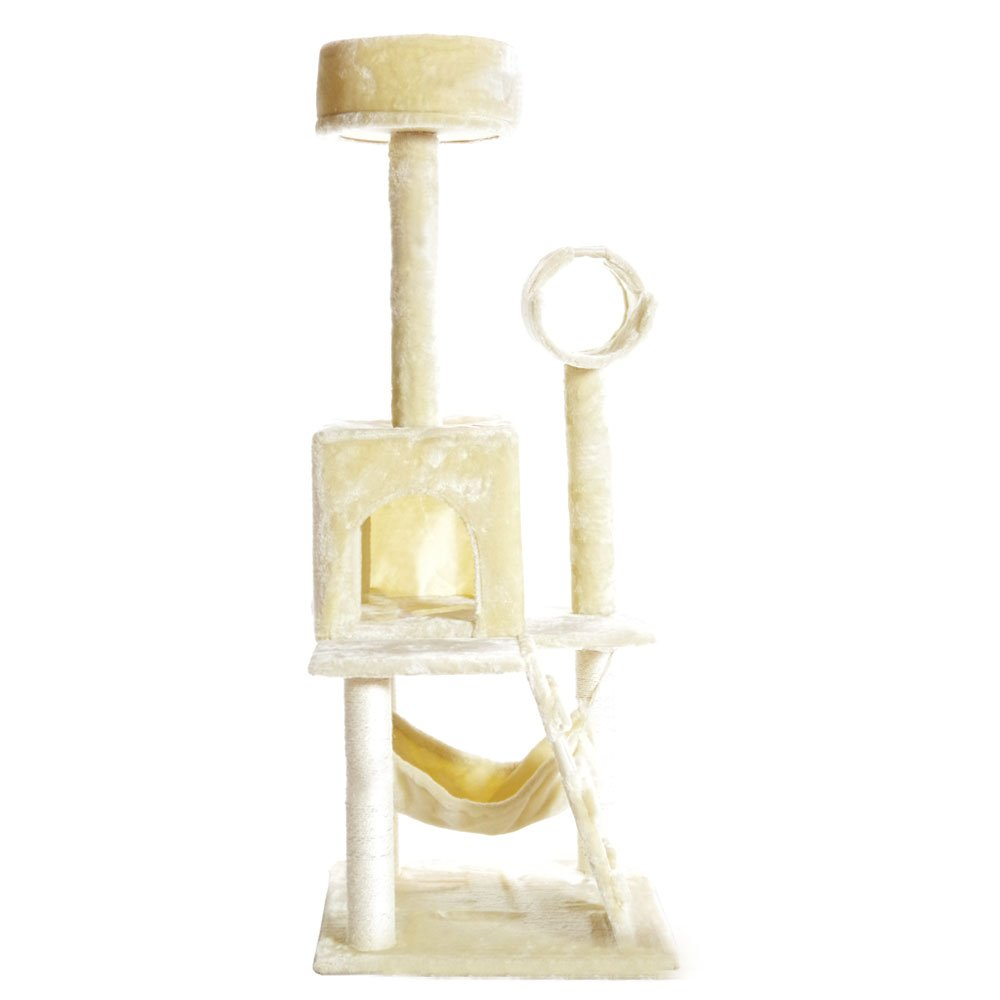 PARTYSAVING PET PALACE 51'' Cat Kitty Tree Scratcher Play House Condo Furniture Toy Bed Post House APL1064, Beige, Medium