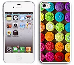 Apple iPhone 5 5S White 5W95 Hard Back Case Cover Colorful Rainbow Cupcakes Design