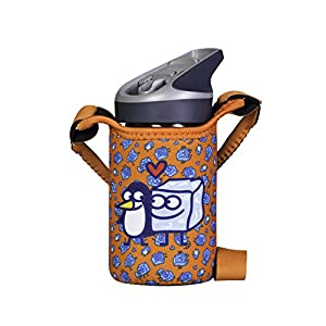 Laken Tritan Kids Leak Free Sports Water Bottle with Jannu Straw Cap, 15 Oz, Kukuxumusu Orange (Cover/Strap)