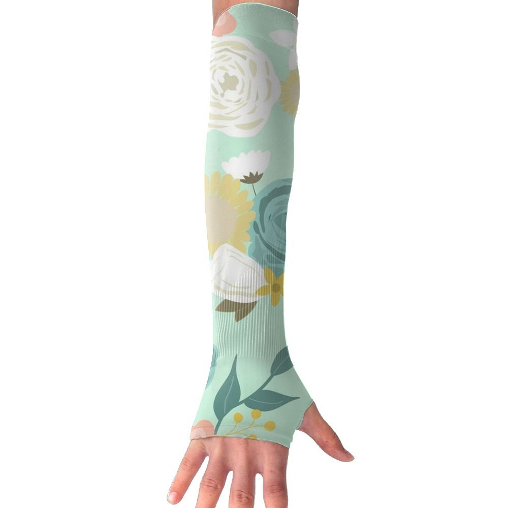 Huadduo Women's Super Long Fingerless Floral Summer Blooms Anti-uv Sun Protection Golf Driving Sports Arm Sun Sleeves Gloves