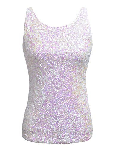 kayamiya Women's 1920S Style Glitter Sequined Vest Tank Tops XS -