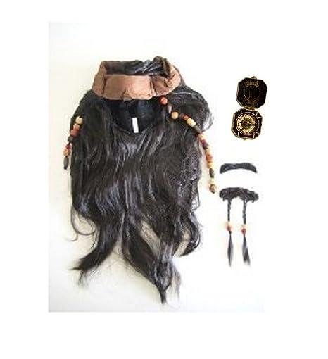 Jack sparrow-style (peluca con barba) & amp; Sombrero * brújula también
