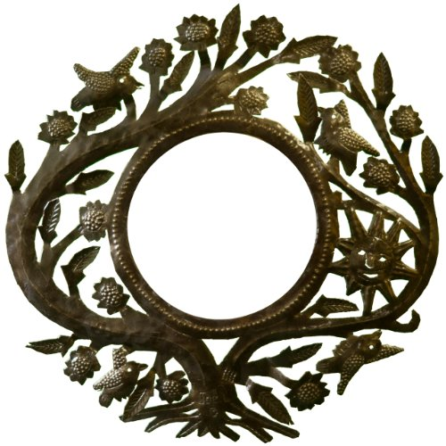 Le Primitif Galleries Haitian Recycled Steel Oil Drum Outdoor Decor, 14.25 by 14.25-Inch, Tree with Sun Mirror