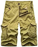 Nutovi Men's Cargo Shorts Relaxed Fit with Multi Pockets (30, Khaki K)