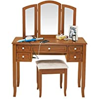 Charlotte 2-Piece Vanity Set with Power Strip and USB in Walnut (Rubberwood and MDF construction)