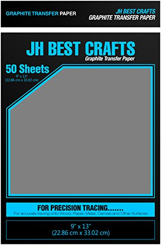 JH Best Crafts Graphite Transfer Carbon Tracing Paper, 9 x 13 Inches, 50 Sheets