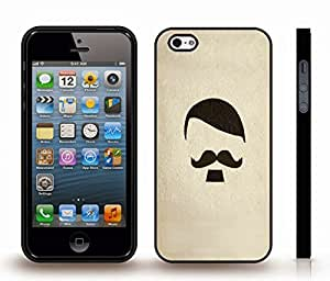 iStar Cases? iPhone 4 Case with Mustache, Goatee and Hair Minimalist Design on Plaster , Snap-on Cover, Hard Carrying Case (Black)